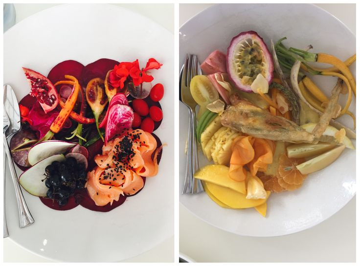 Seasonal fruits and vegetables make up their signature red and yellow salads. #Babylonstoren #GourmetAfrica #foodie