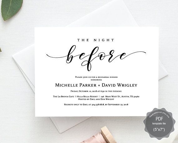 11 best wedding rehearsal dinner card design images on pinterest the night before wedding rehearsal dinner invitation card pdf editable template the night before our stopboris Choice Image