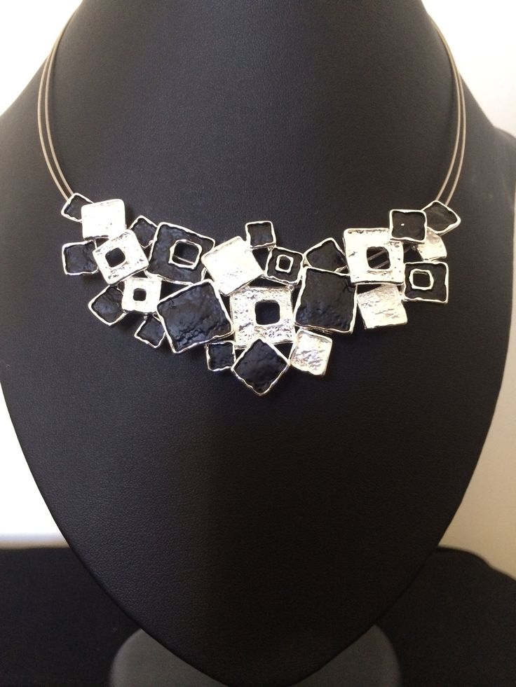 Unique Fashion Jewellery Australia - Black and Silver textured squares necklace, $58.00 (http://www.uniquefashionjewellery.com/black-and-silver-textured-squares-necklace/)