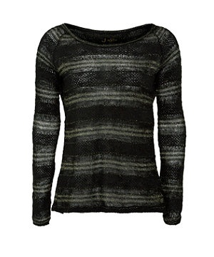 Black (Black) Dark Green Stripe Knit Split Back Jumper | 263654401 | New Look