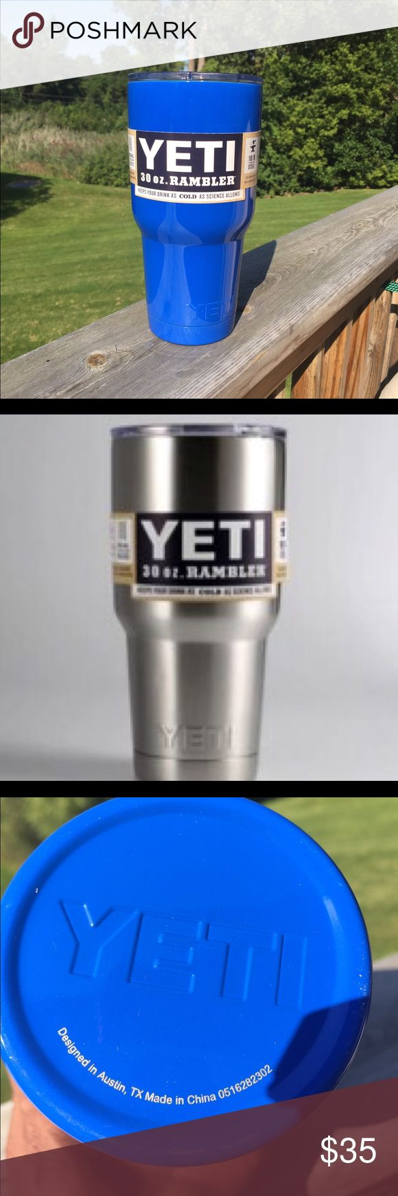 NIB. Contact me. YETI CUP 30 ounce. Keeps drinks cold or hot as science allows!! Blue or Stainless Steey. Message if interested. 586-413-3839. Also available- 1 Orange, 1 Purple. Pink 20 oz. is available with SPILL proof lid and HANDLE for $45 Yeti Accessories