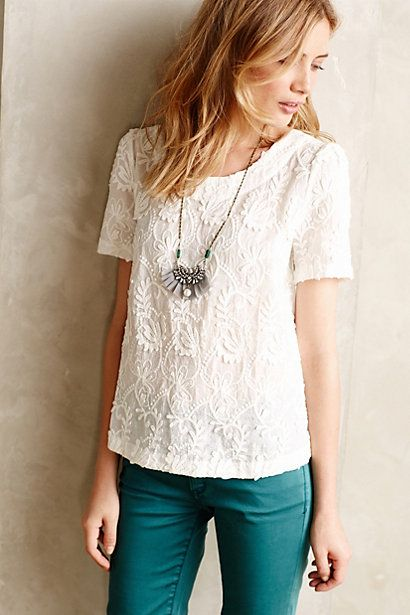 at Anthropologie // Embroidered Lace Tee in white