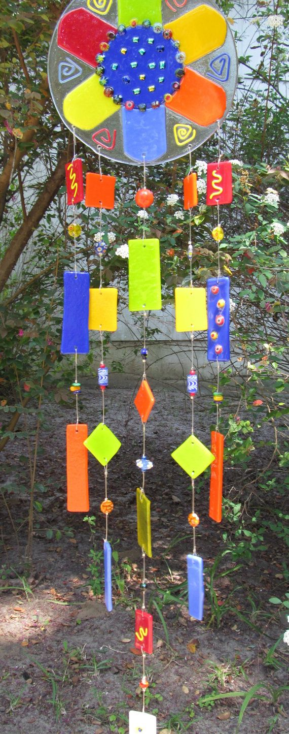 Fused glass yard art - Funky Flower Fused Glass Wind Chimes