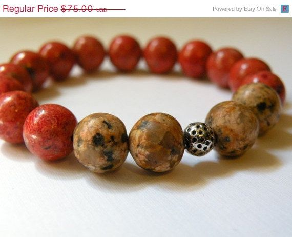 ON SALE Amber  -  Picture Jasper And Red Coral Beaded Bracelet   -  Handcrafted   -   Natural Stone