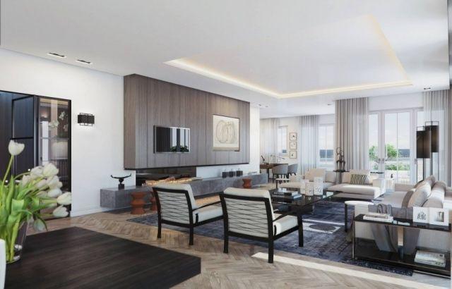 penthouse wohnung mit loft gestaltung harmonievolle und stylische farbpalette moderne h user. Black Bedroom Furniture Sets. Home Design Ideas