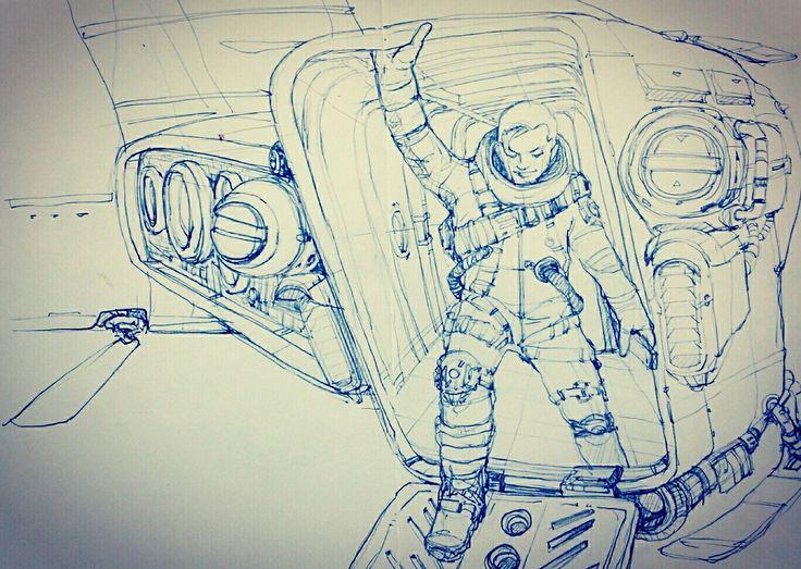 astronaut :The task has been released #artist #illustrator #painting #drawing #manga #漫画 #girl #graffiti #note #pencil #copic #tokyo #korea #taipei #newyork #art #style #battlefield #womenwarriors warrior #battlefield#hero #space  #Science Fiction #fantasy #perseverance #tough #robot#cockpit #flighter #pilot #만화