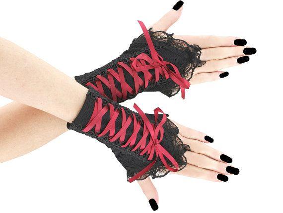 Black burgundy short fingerless gloves wrist by FashionForWomen