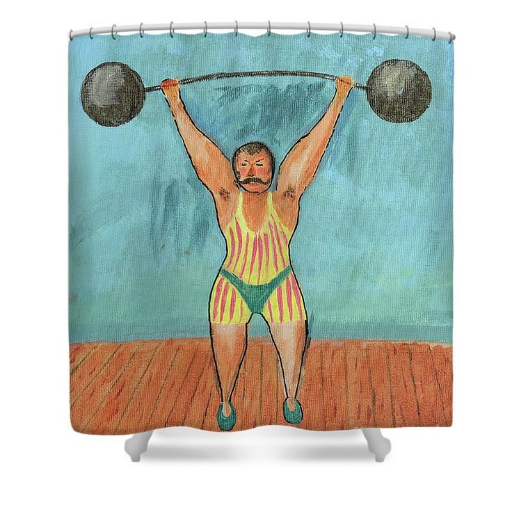 Weightlifting Shower Curtain featuring the painting Johnny Maciste by Grigorios Moraitis