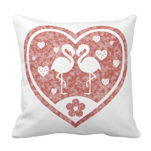 "Two loving flamingos inside a beautiful red textured heart / Grade A Cotton Square Throw Pillow, 16""x16"" or 20""x20"" #fomadesign"