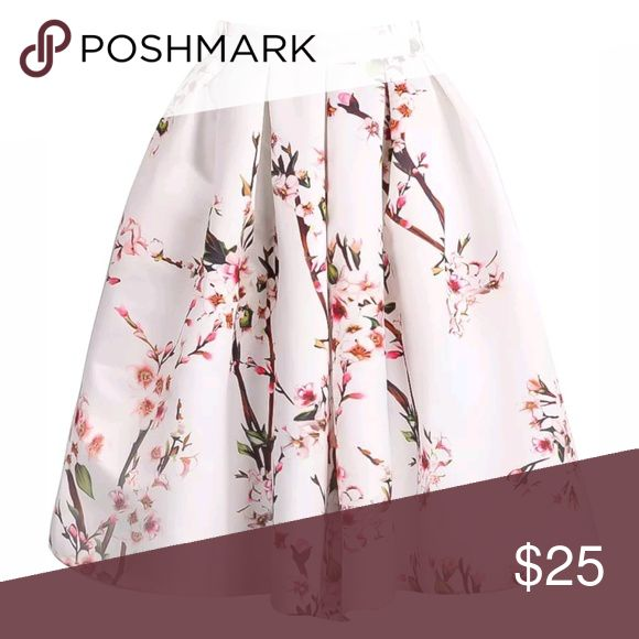Sheinside SheIn White Floral Midi Skirt Pleated S I am a 2/4 and this runs small, like a 0P in my opinion. Sometimes I can fit into 0 depending on the brand. Never worn, new in package. A good steaming would help but I don't own one.  I can't find my tape measure right now but will update once I locate it (I know it's around here somewhere  Material : Polyester  Hand Wash Separately in Cold Water.  Pattern Type :Floral Silhouette :Pleated Dresses Length :Above Knee/Short Color :White Style…