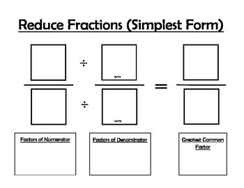Use these mats to help your students remember how to find equivalent fractions and how to reduce fractions.  Students will enjoy using the mats as a great visual when they are learning how to find the simplest form of a fraction and how to find equivalent fractions.