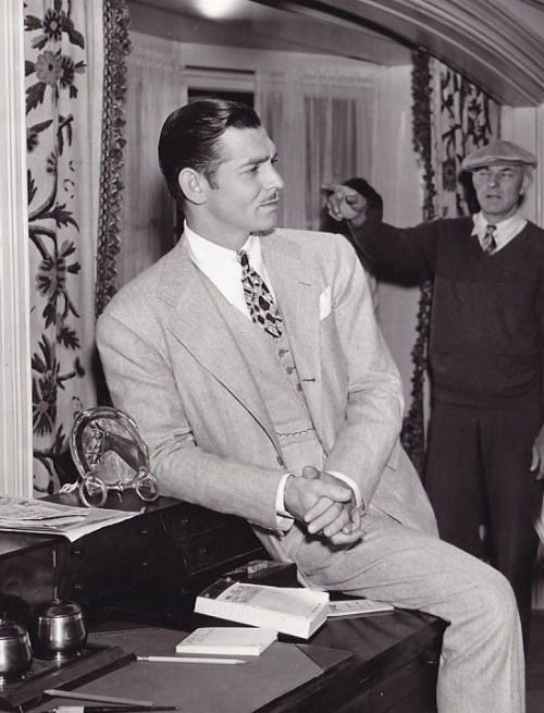 Clark Gable on set.