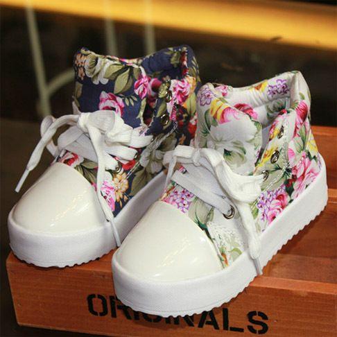Children Canvas Shoes 2014 New Summer Flower Child Sneakers For Kids Girls Floral Brand Designer Children's Little Girl Shoe