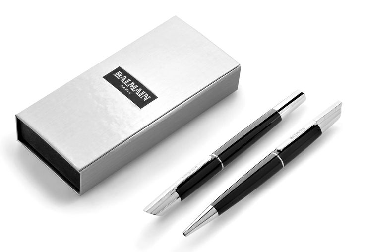 Balmain Paris Pen Set, Elegant Black Rollerball and Fountain Pen Set - Balmain Pens Sandton #balmain #balmainparis #pens #fouintainpen #giftset #corporategifts #sandton