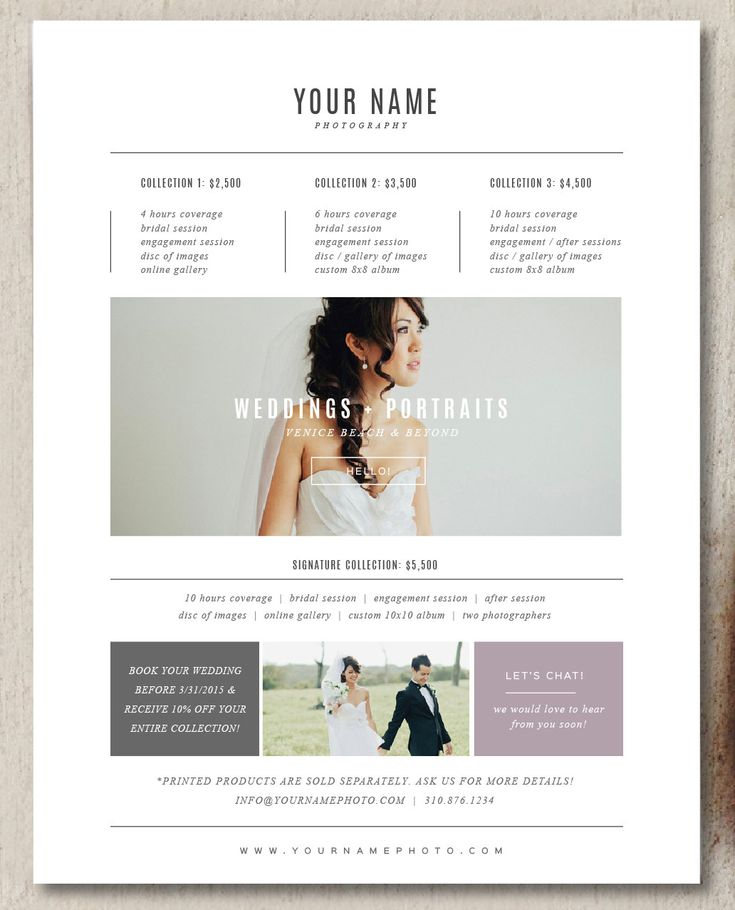 25 best Photographer PDF images on Pinterest Pdf, Branding - wedding price list