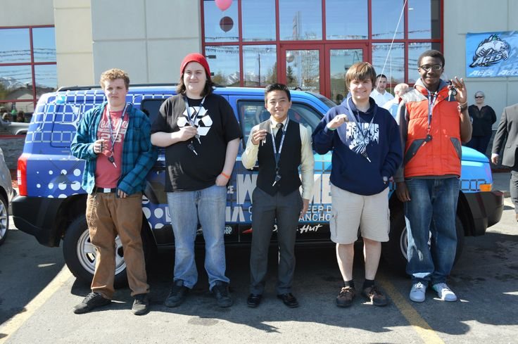These 5 lucky Anchorage School District students were all in the running to receive a Jeep Patriot due to their perfect attendance during the 2013-2014 school year. GCI partnered with Lithia Chrysler Jeep Dodge of Anchorage, Alaska Airlines, and School Business Partnerships for this event. 50,000 Alaska Airline miles were given to those four who didn't drive away with a Jeep on May 9th, 2014.