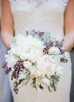 Beautiful White Peony Bouquet with Lilac Accents