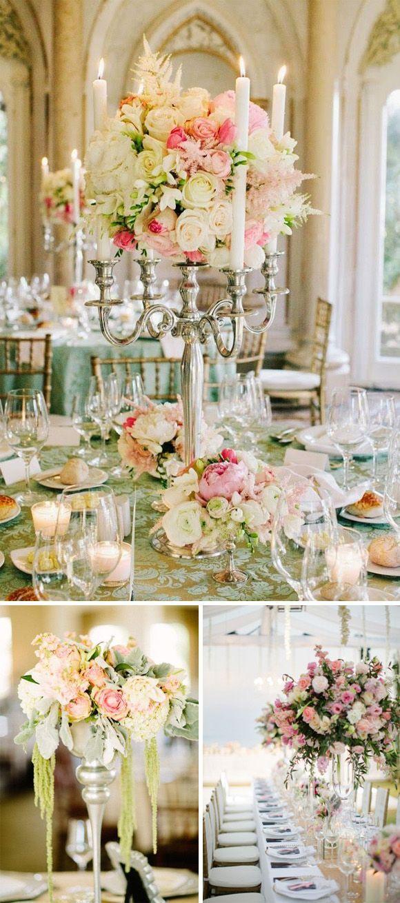 Hola a tod@s, Hoy nos gustaría enseñaros diferentes ideas originales para los centros de mesa altos en las bodas. Este tipo de centros no están recomendados para todo tipo de lugares de celebración. P