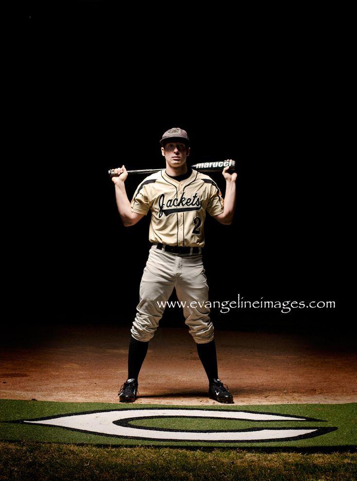 senior boy baseball pose, night photography