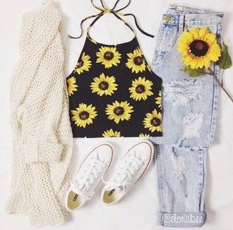 shirt sleeveless sunflower sunflower shirt 90s style black vintage 90's shirt cardigan jeans