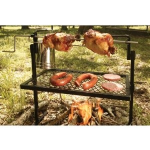 """Nice in theory, but I'm sure that chicken is way too far away from that """"fire"""" to ever cook properly.  $46.38: Fire Pits, Idea, Rotisserie Grilled, Texsport Rotisserie, Outdoor Cooking, Rotisserie Spit, Campfires, Camping Gears, Spit Grilled"""