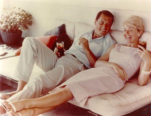 Rock Hudson visits Doris Day in her Malibu home, 1960.