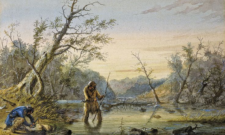 Alfred Jacob Miller's painting, Trapping Beaver, circa 1858, illustrates the tedious, repetitive and dangerous work of the fur trappers and mountain men who worked North America's waterways for the Hudson's Bay Company beginning in 1670.