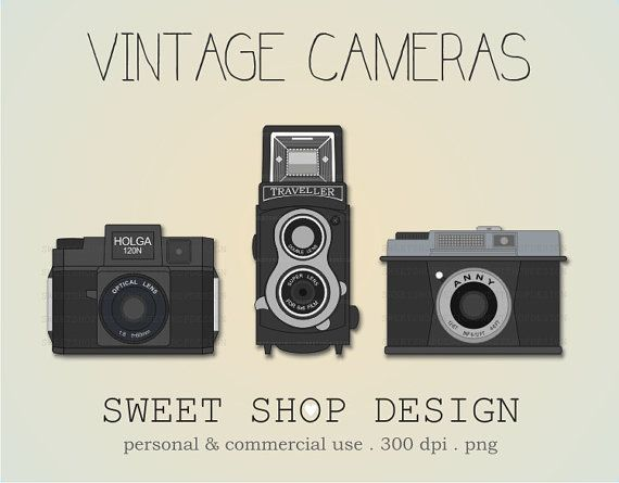 Vintage Cameras Clip Art, Photography Clip Art, Royalty Free Clip Art, Instant Download by SweetShopDesign, $3.00