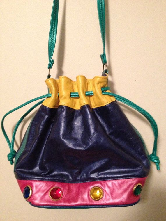 90s 80s drawstring multicolored colorblock by NuMoonVintage, $18.00