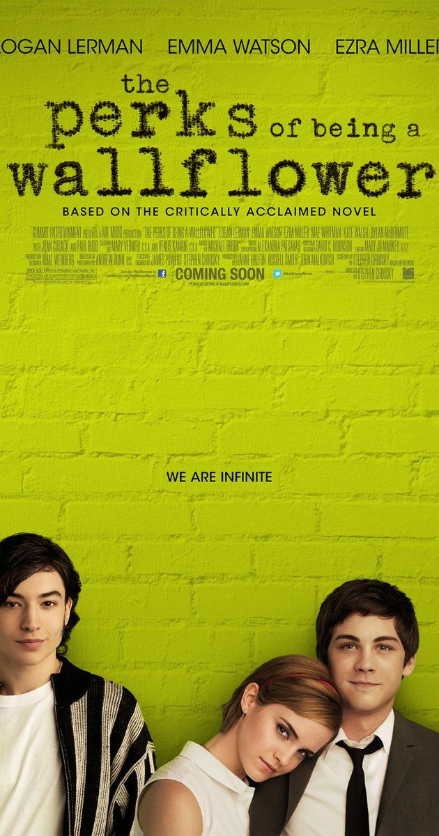 Directed by Stephen Chbosky.  With Logan Lerman, Emma Watson, Ezra Miller, Paul Rudd. An introvert freshman is taken under the wings of two seniors who welcome him to the real world.