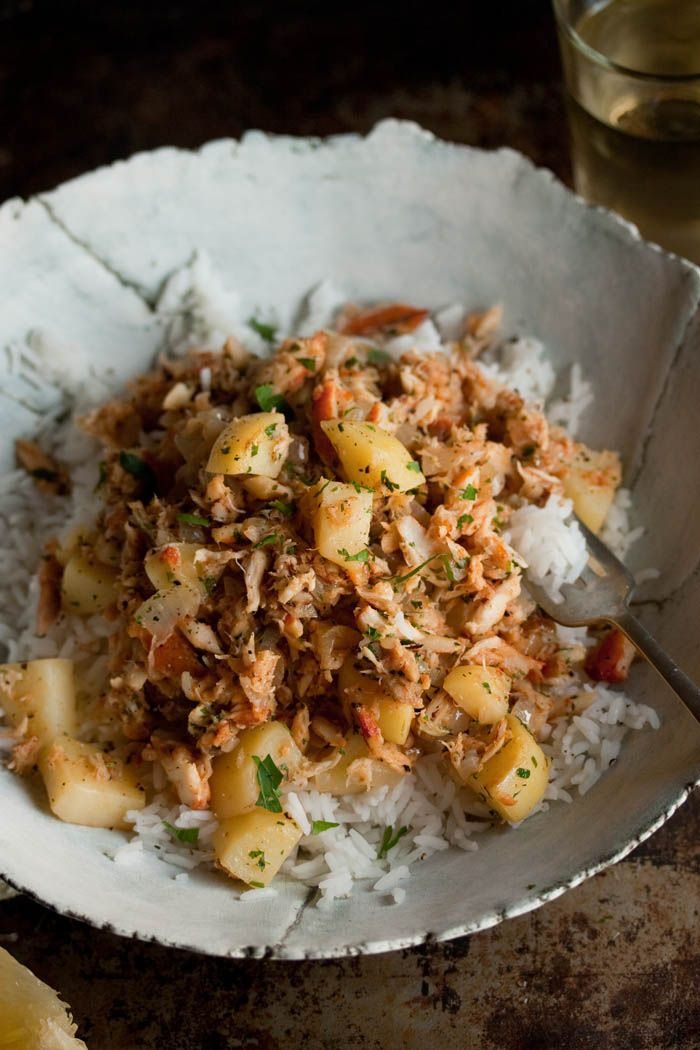 Smoorsnoek ~ a traditional South African dish of smoked fish with potatoes, parsley and rice