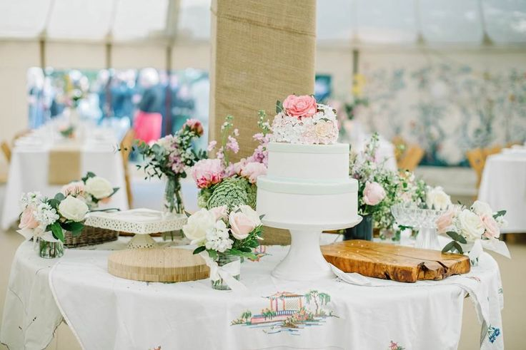 Pretty cake table inside our circular traditonal tent.