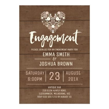 Rustic Floral Heart Engagement Invitation - invitations custom unique diy personalize occasions
