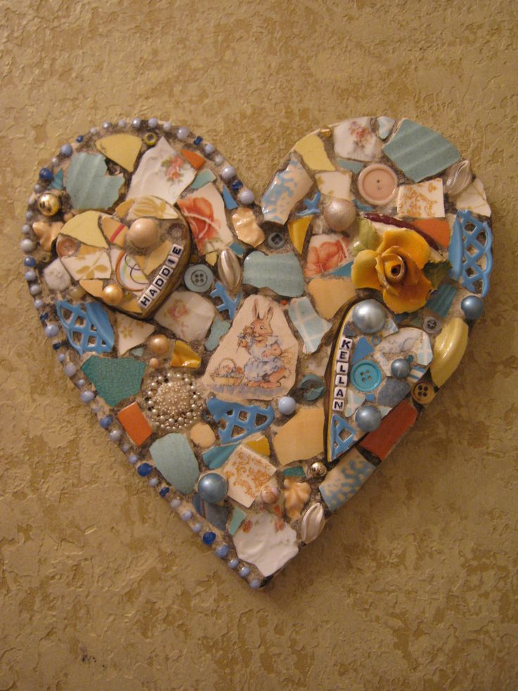Eccentricities, Mosaics by Kelly Aaron: Baby Heart Custom Mosaic