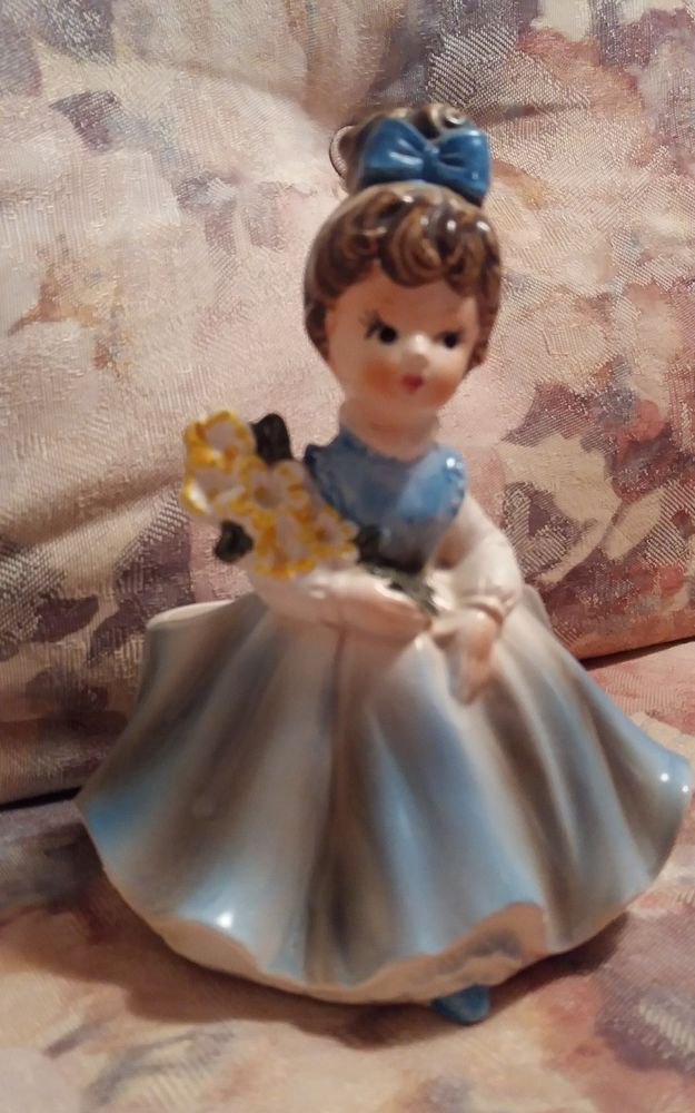 Young Girl in Blue Dress PlanterVase