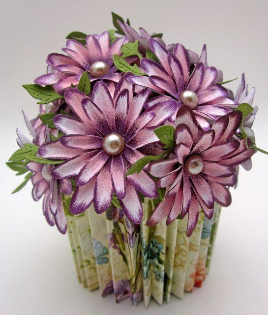 Cheery Lynn Designs DT cupcake.  Handmade Daisies with tutorial. #Graphic45 Secret Garden paper. #G45,   #CheeryLynn