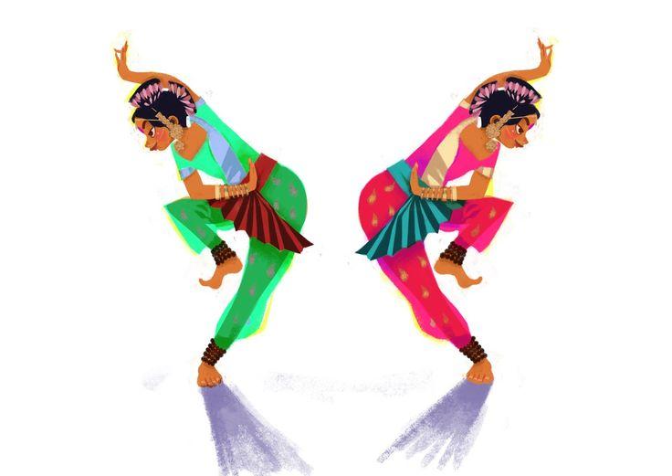 Agnès YVAN illustration Danseuses indiennes