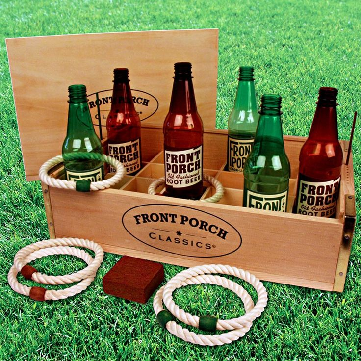 ring toss around bottles with rope - cut and then duct tape into circle. so doing this!