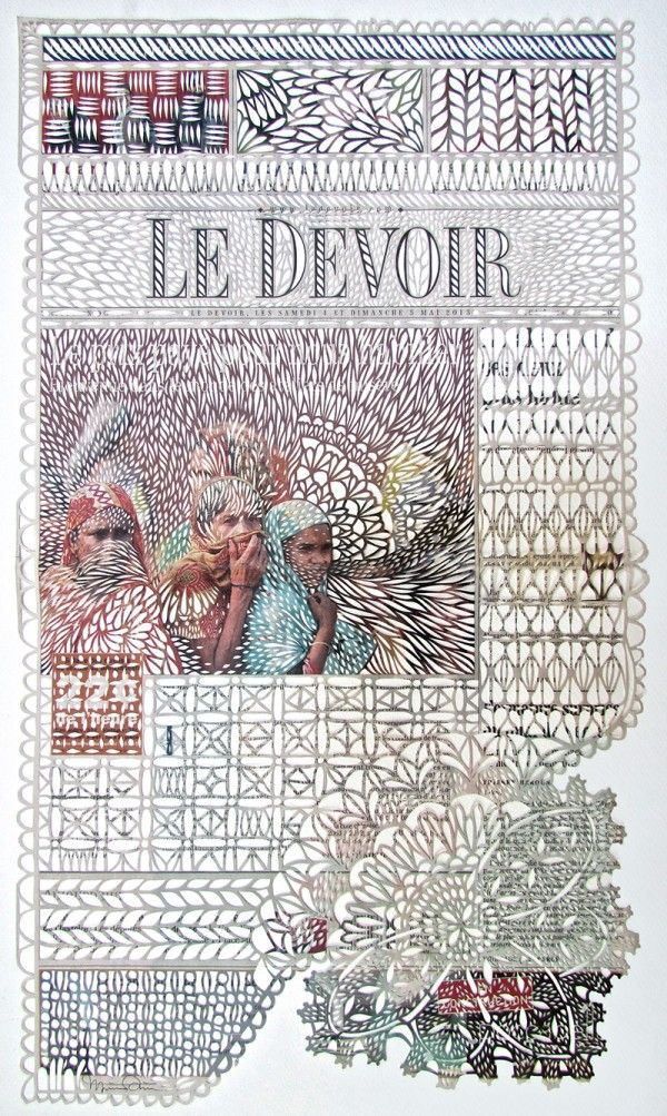 Canadian artist Myriam Dion takes newspapers and intricately cuts patterns into the pages using a scalpel…