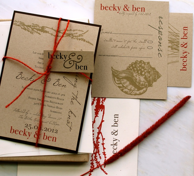 Coral Reef - Natural Beach Wedding Invitations, Coral Red Twine, Brown, Taupe - Purchase to Start the Ordering Process. $100.00, via Etsy.
