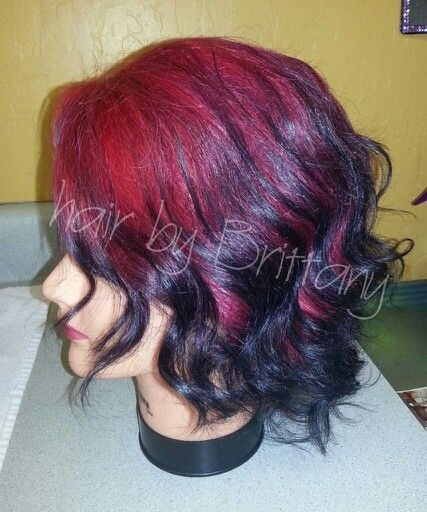 Red to black ombre. Haircolor. Short hair. Hair by Brittany.