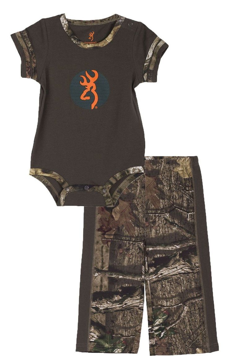 Browning Baby Leaf Hopper Two Piece Onesie and Pants Set Forest Night/Mossy Oak Infinity