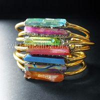 WT-B212 Novo Banhado A Ouro IPG Brass Íris Aura Aqua Ponto De Cristal De Quartzo Pulseira Jóias Pirita Artesanais Naturais de cristal De Quartzo