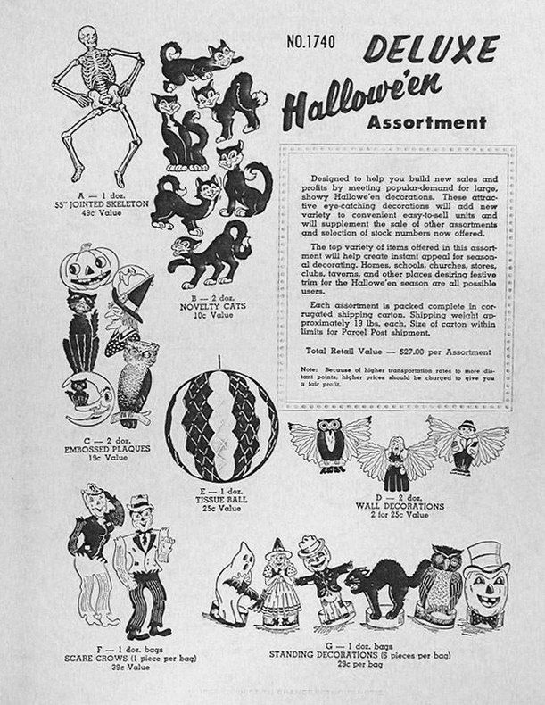 1958 beistle catalog featuring the deluxe halloween assortment