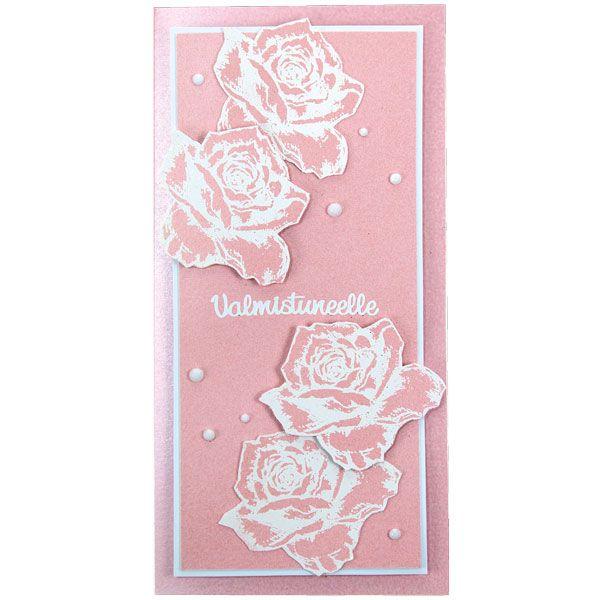 Upea ruusuaiheinen kortti on tehty leimailemalla. Tarvikkeet ja ideat Sinellistä!