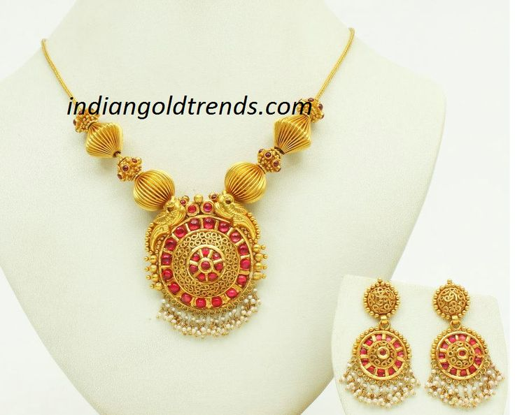 Latest Indian Gold and Diamond Jewellery Designs: VBJ Designer gold necklace and gold earrings