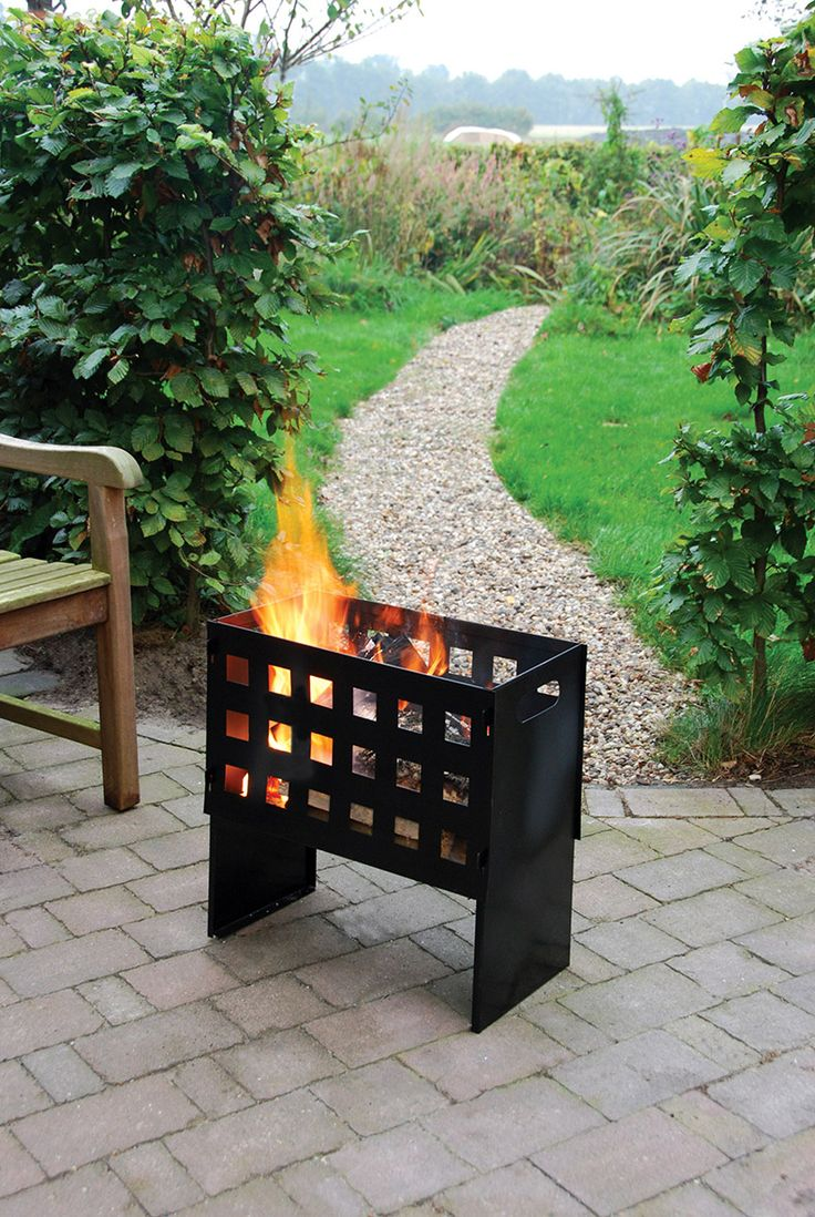 Esschert Design FF88 Metal rectangle fire basket in a wood crate with handle.