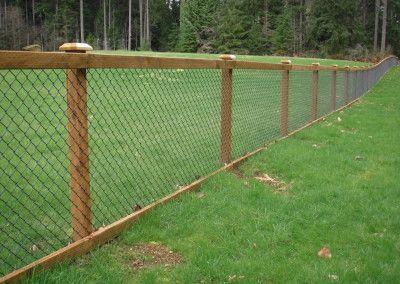 Chain Link Fence with Cedar Wood Trim