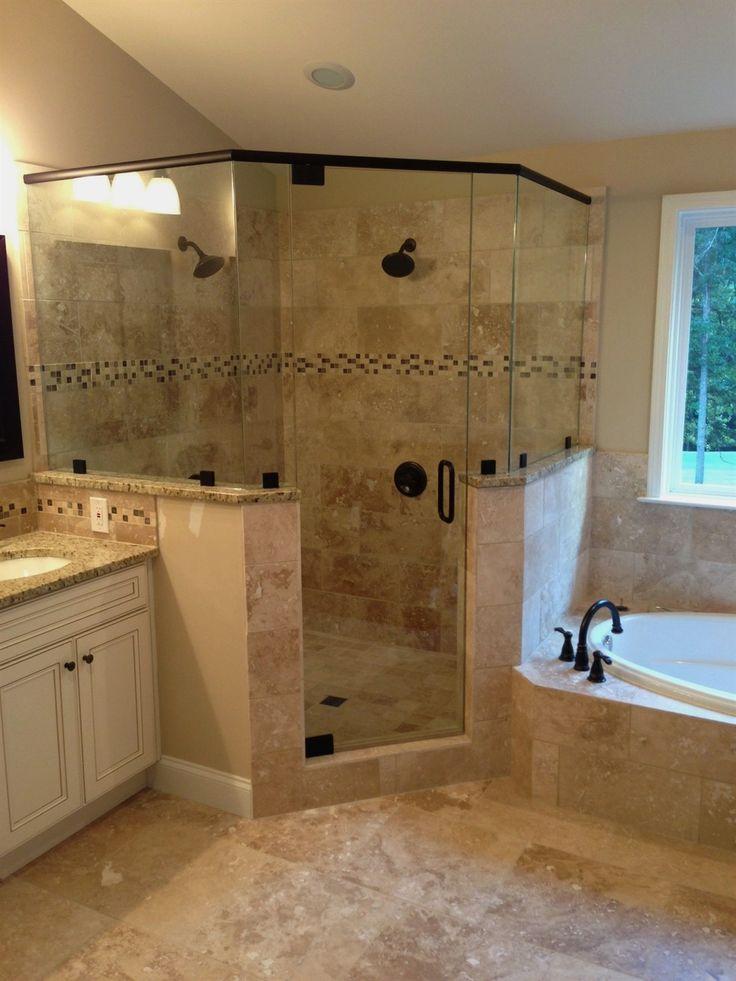 Frameless corner glass shower. dual shower heads. garden