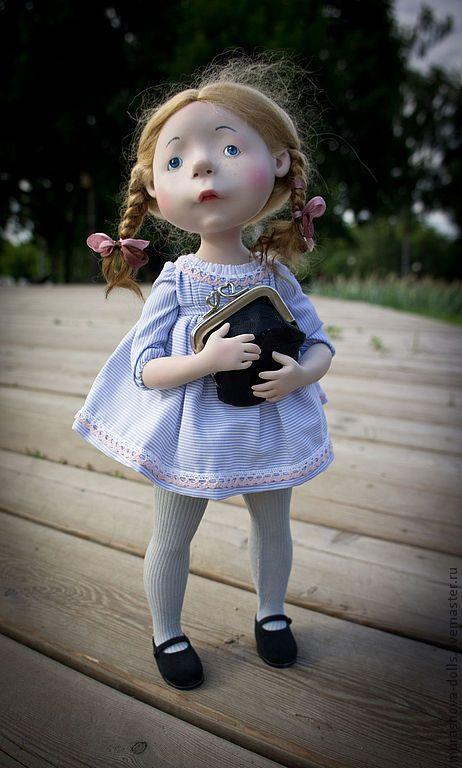 Мамина сумочка - голубой,авторская кукла,на подарок,livingdoll,трессы